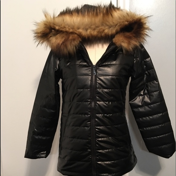 100% high quality the sale of shoes discount sale Lanshifei Jackets & Coats | Womens Black Wet Look Faux Fur Hooded ...